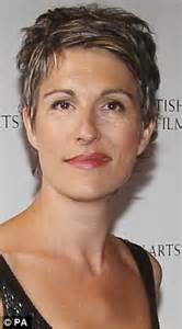 salt and pepper hair growing grey gracefully tamsin greig shows off stylish salt and pepper hair at bafta tv craft