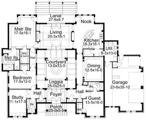 Luxury With Central Courtyard 36186tx Floor Plan Main | central courtyard house plans home design