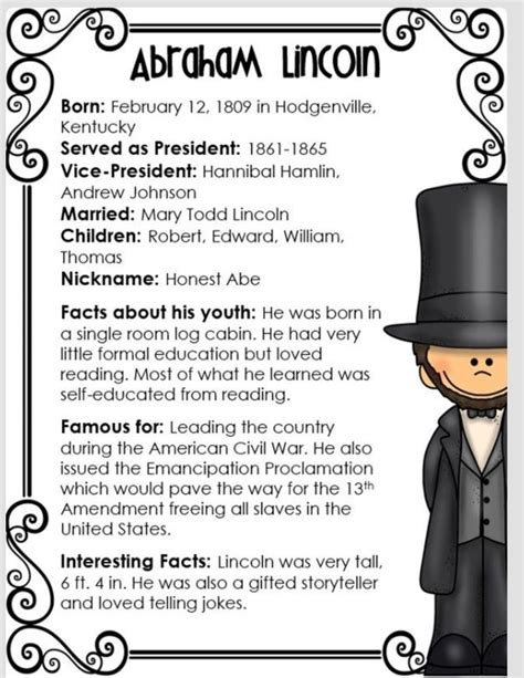 abraham lincoln facts for abe lincoln facts ela
