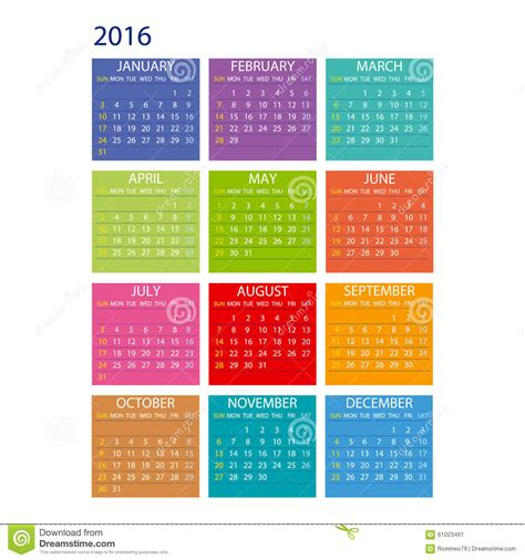 design vector calendar 2016 2016 calendar simple design vector date template month