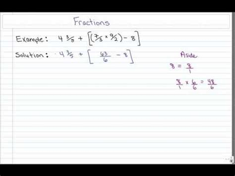 Bedmas With Fractions Worksheet by Bedmas With Fractions Flv