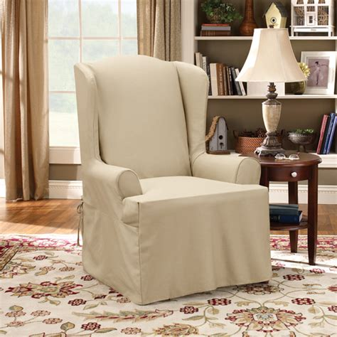 wing chair slipcover 2 piece surefit furniture slipcovers