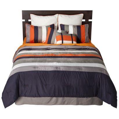 Orange And Navy Bedding by Striped 8 Bedding Set Navy Orange Boy Bedrooms