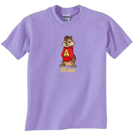 embroidered personalized alvin and the chipmunks t shirt