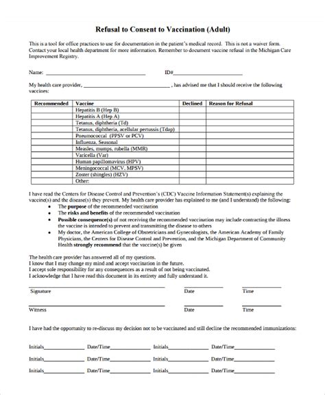 vaccine consent form template sle vaccine consent form 7 free documents