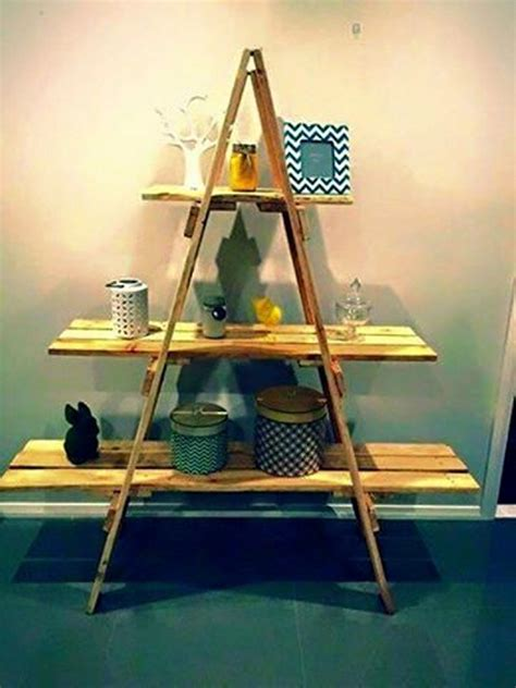 pallet shelves in ladder style pallet ideas recycled