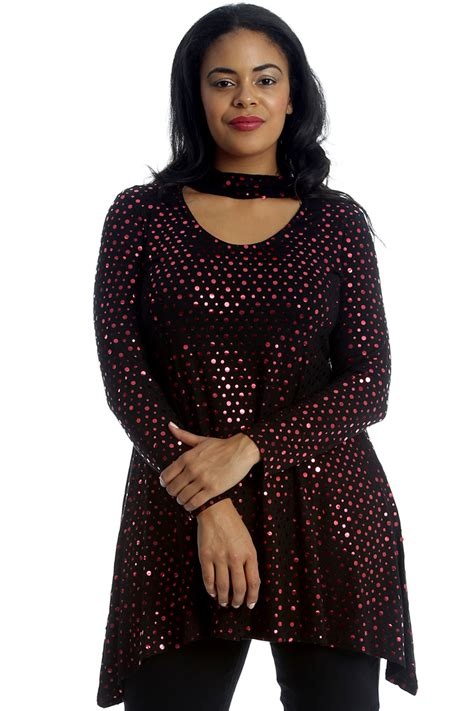 swing tops plus size new womens top plus size swing style ladies polka dot foil