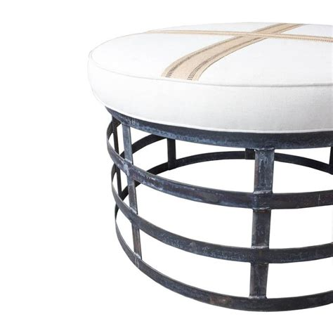 oversized ottoman round oversized round industrial style ottoman with cotton linen