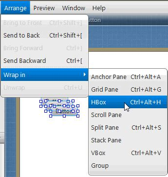 javafx toolbar layout javafx scene builder user guide using the menu bar