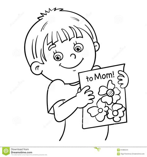 Coloring Page Outline Of A Boy With A Picture Stock Vector Outline Of A Boy And Coloring Pages