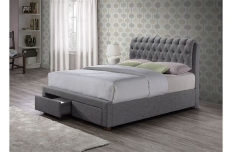 grey fabric bed birlea valentino 4ft6 double grey fabric bed frame with 2