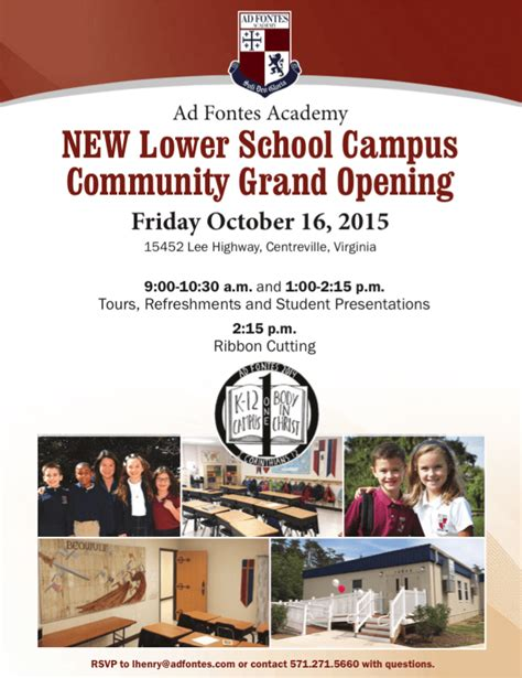 5 New Opening On October 16 new lower school cus community grand opening ad