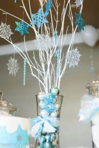 Winter wonderland birthday centerpieces in the party room we had a