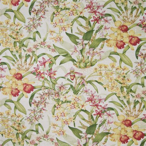 tropical print upholstery fabric orchid green pink floral tropical print linen upholstery