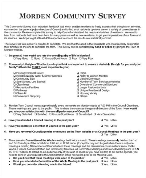 45 Exles Of Survey Forms Sle Templates Community Survey Template
