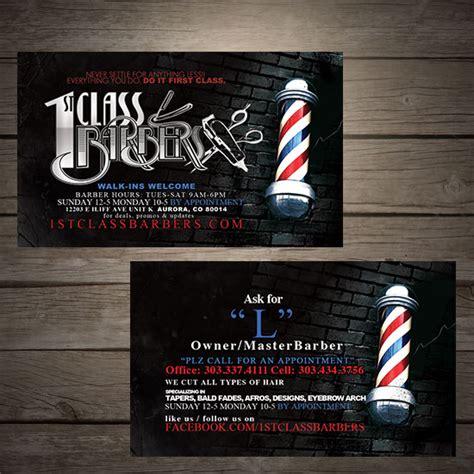 Barbershop Business Card Template by 1st Class Barbers Denver Barber Shop Design Business