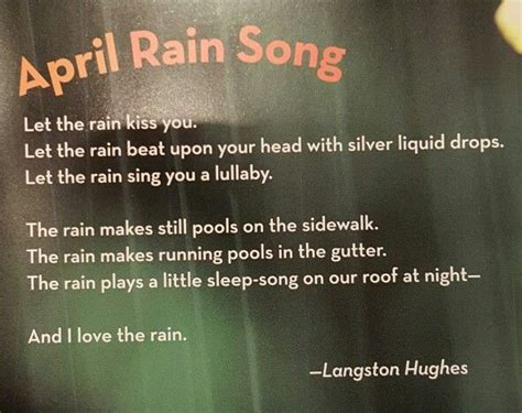 quote langston hughes theme rain let the rain kiss you 1000 images about poetry on pinterest robert frost