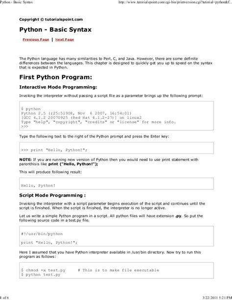 tutorialspoint for python python tutorial