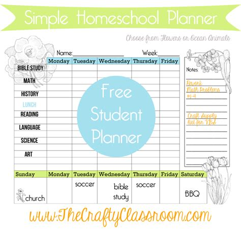 printable calendar homeschool free weekly homeschool student planner free homeschool