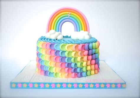 Rainbow Buttercream Uk15 1 rainbow birthday cake buttercream petal cake in rainbow colors rainbow and clouds are