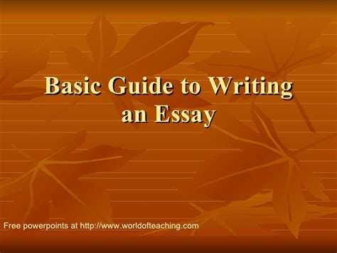 Guide To Writing A Basic Essay by Basic Guide To Writing An Essay 1