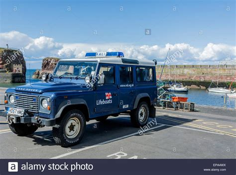 land rover rnli an rnli landrover emergency vehicle on standby on the