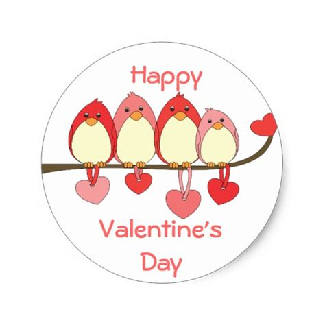 valentines day stickers those birds on valentines day classic sticker zazzle