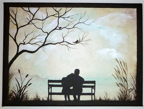 park bench painting couple on park bench original painting small 9 quot x 12