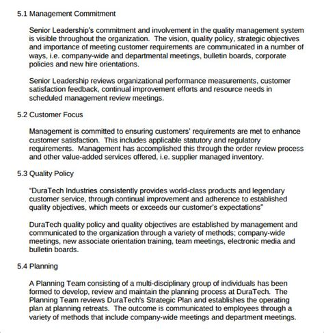 quality policy template sle quality manual 12 exles format