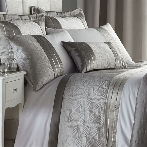 white and silver bedding set catherine lansfield gatsby silver sequin white duvet quilt