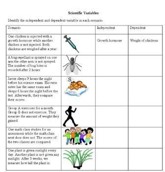 Independent And Dependent Variables Worksheet Middle School by The World S Catalog Of Ideas