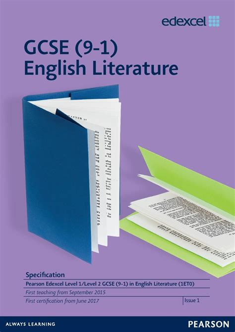 gcse english literature for 1107454557 first teaching from 2015 and 2016 pearson qualifications