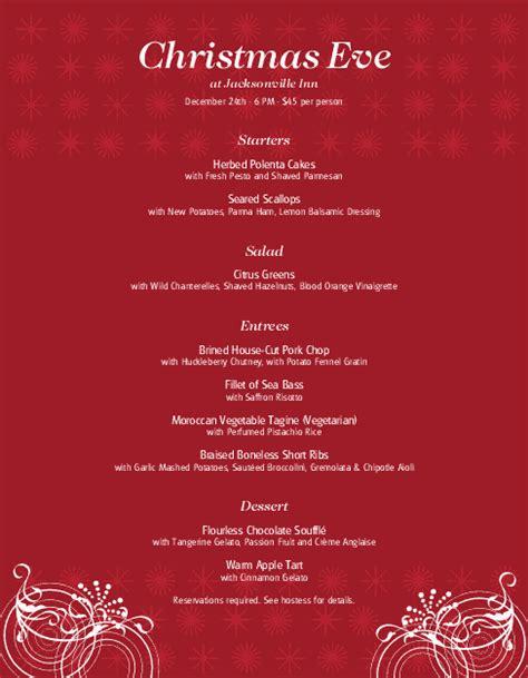 restaurant christmas menu christmas menus
