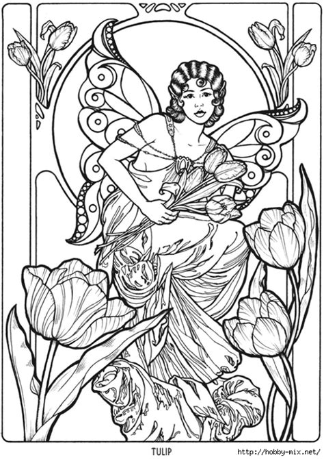 printable zentangle legend tulip fairy fae fantasy myth mythical mystical legend elf
