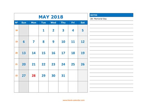 printable calendar large spaces free download printable may 2018 calendar large space for