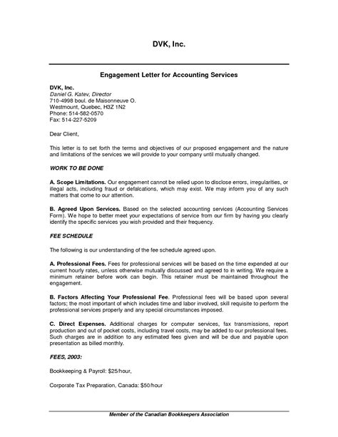 letter of engagement template for bookkeeper 10 best images of accounting services template