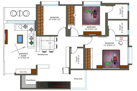 cad drawing bhk house plan  furniture layout