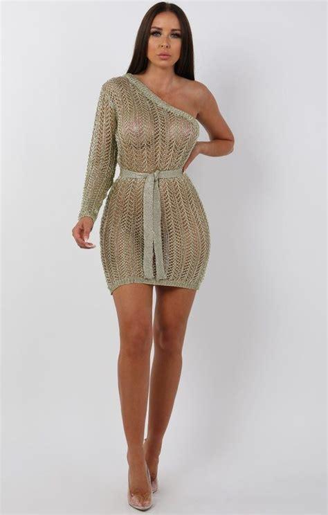 metallic knit gold  shoulder mini dress mini dresses