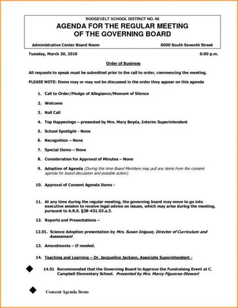 board agenda template non profit sle board meeting minutes template business
