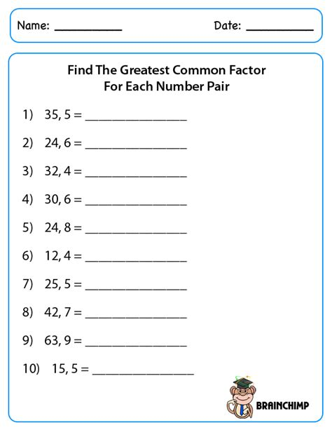 Greatest Common Factor Worksheets by Factors Brainchimp