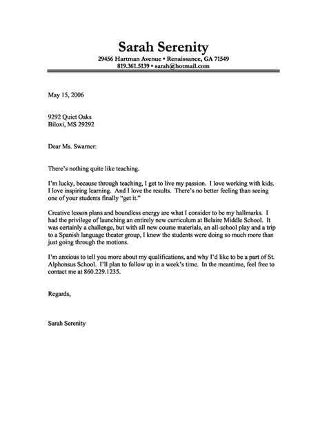 format of application letter as a teacher cover letter exle of a teacher with a passion for