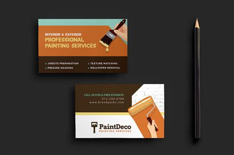 business cards for business with template 77041 painter decorator business card template for photoshop