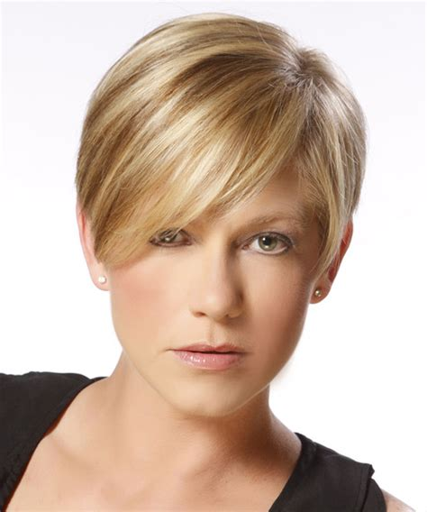 front view of side swept hairstyles short straight formal pixie hairstyle with side swept
