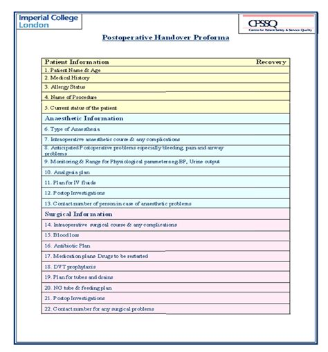 network handover document template patient handover template 28 images electronic