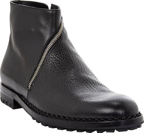 balenciaga boots mens balenciaga textured asymmetriczip ankle boots in black for