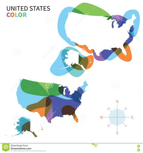 vector united states map abstract vector color map of united states vector