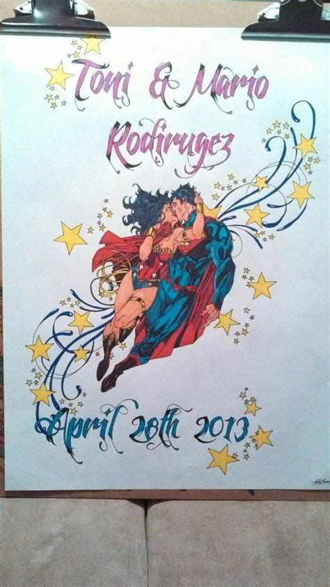 Superman and wonder woman wedding present by