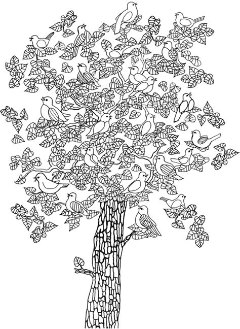 Welcome To Dover Publications Whimsical Tree Coloring Page