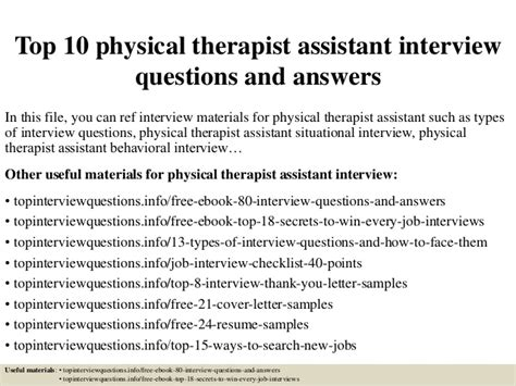 top 10 physical therapist assistant questions