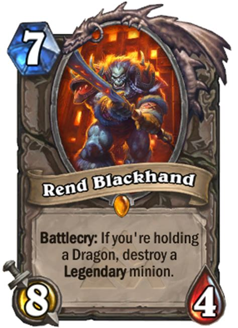 hearthstone legendary card template rend blackhand hearthstone wiki